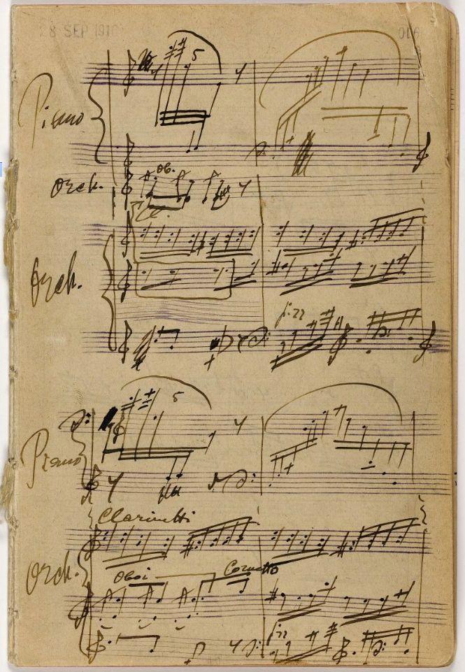 Vintage Music Sheet Background ~ Igor Stravinsky's 'Petrushka' sketches