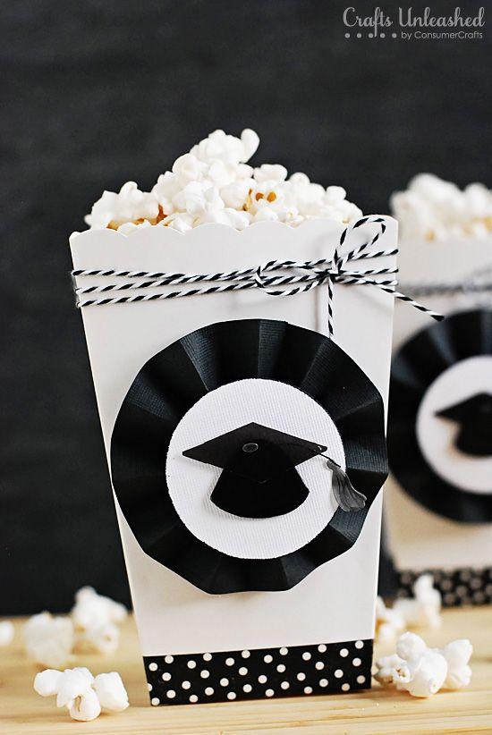 Graduation Themed Diy Party Popcorn Boxes Popcorn Party Graduation Party Graduation Decorations