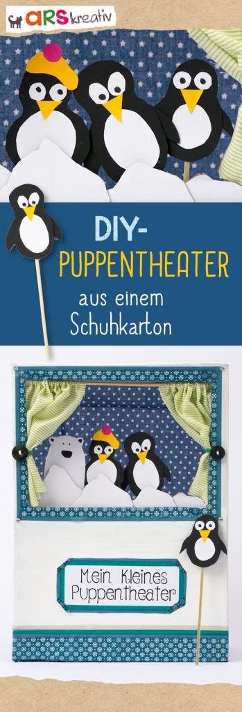 Eure Kinder lieben Puppentheater? Perfekt, denn mit einem eigenen kleinen Theater könnt ihr selbst die Regie in die Hand nehmen! Hier zeigen wir euch, wie ihr eure eigene kleine Bühne basteln könnt. #Bastelanleitung auf #arskreativ #DIY