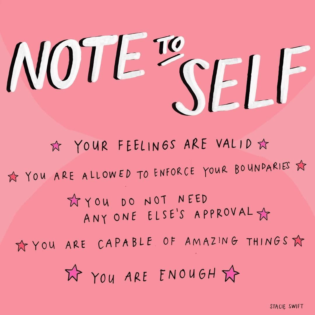 Note To Self * Self-care Words To Live By * Illustration