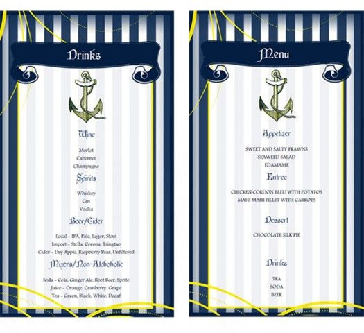 Do It Yourself FREE printable menu from our nautical shoot - free drink menu template