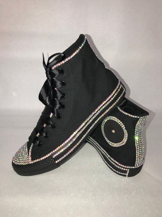 d8114bf8cd33 WOMEN S Black Diamond Inspired Bling Converse All Star Chuck Taylor  Sneakers High-Top