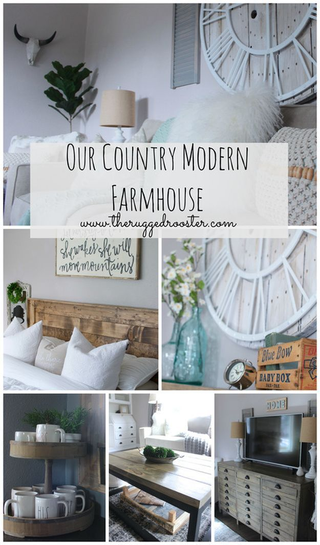 Our country modern farmhouse tour see our diy rustic furniture in every room