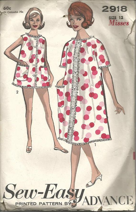 1960s Shortie Nightgown Bloomers Robe Sew-Easy Size by kinseysue