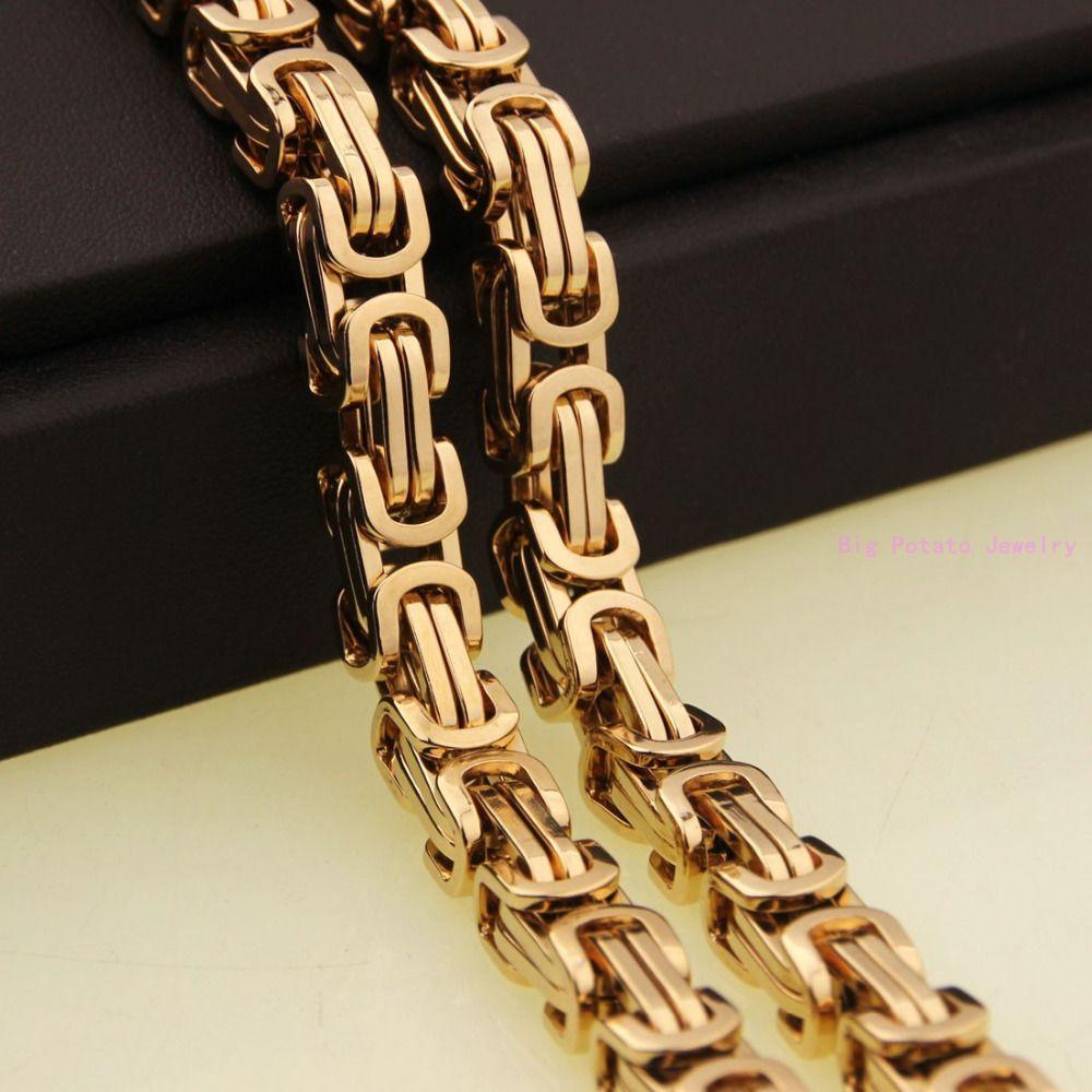 Necklace High Quality Men/'s Stainless Steel Gold Tone Box Byzantine Bracelet