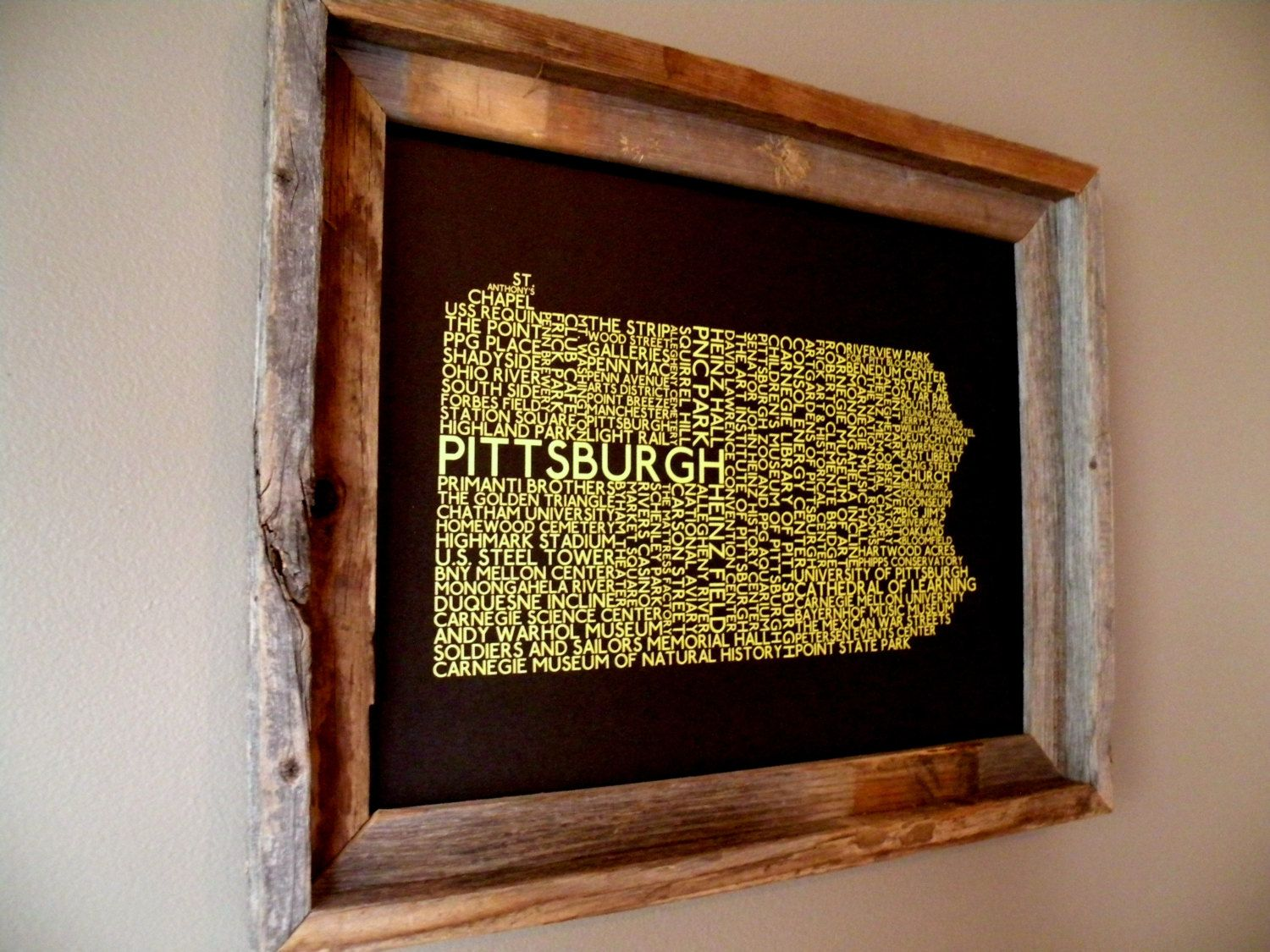 Pittsburgh pennsylvania word map by fortheloveofmaps on etsy