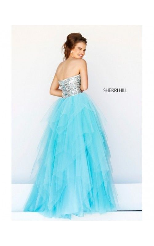 2014 Beaded Plunging Neck Gown by Sherri Hill 11085 AquaOutlet