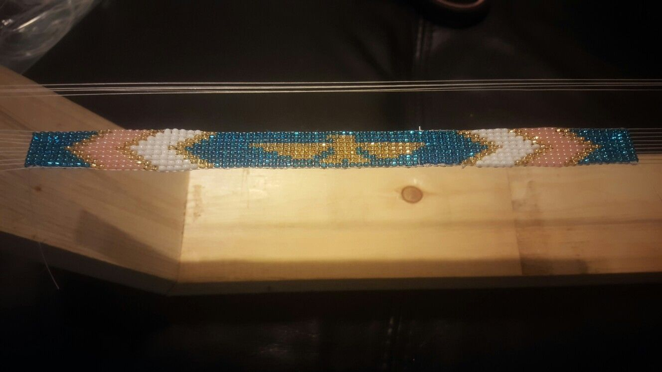 "Eagle Beading on a loom with 10"" Czech beads"