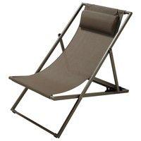 Chaise longue / chilienne en métal taupe et tissu plastifiée