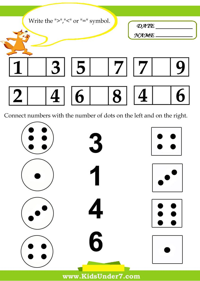 Kids Under 7 Kids math worksheets Matematik, Okul