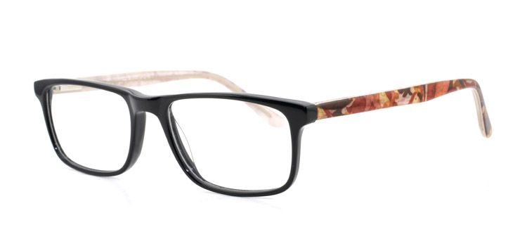 DNA 7816 - BLACK / FLORAL PRINTS. DNA Eyewear offers effortless style with the use of simple lines and high end acetate material.  There is a pair of DNA glasses for every facet of your personality, from modern and professional, to mischievous and fun.  www.iLookGlasses.ca