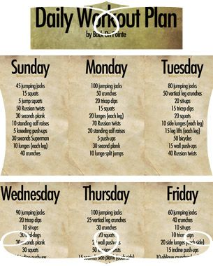 Daily Workout Plan -- In Graghic! | Workouts | Pinterest