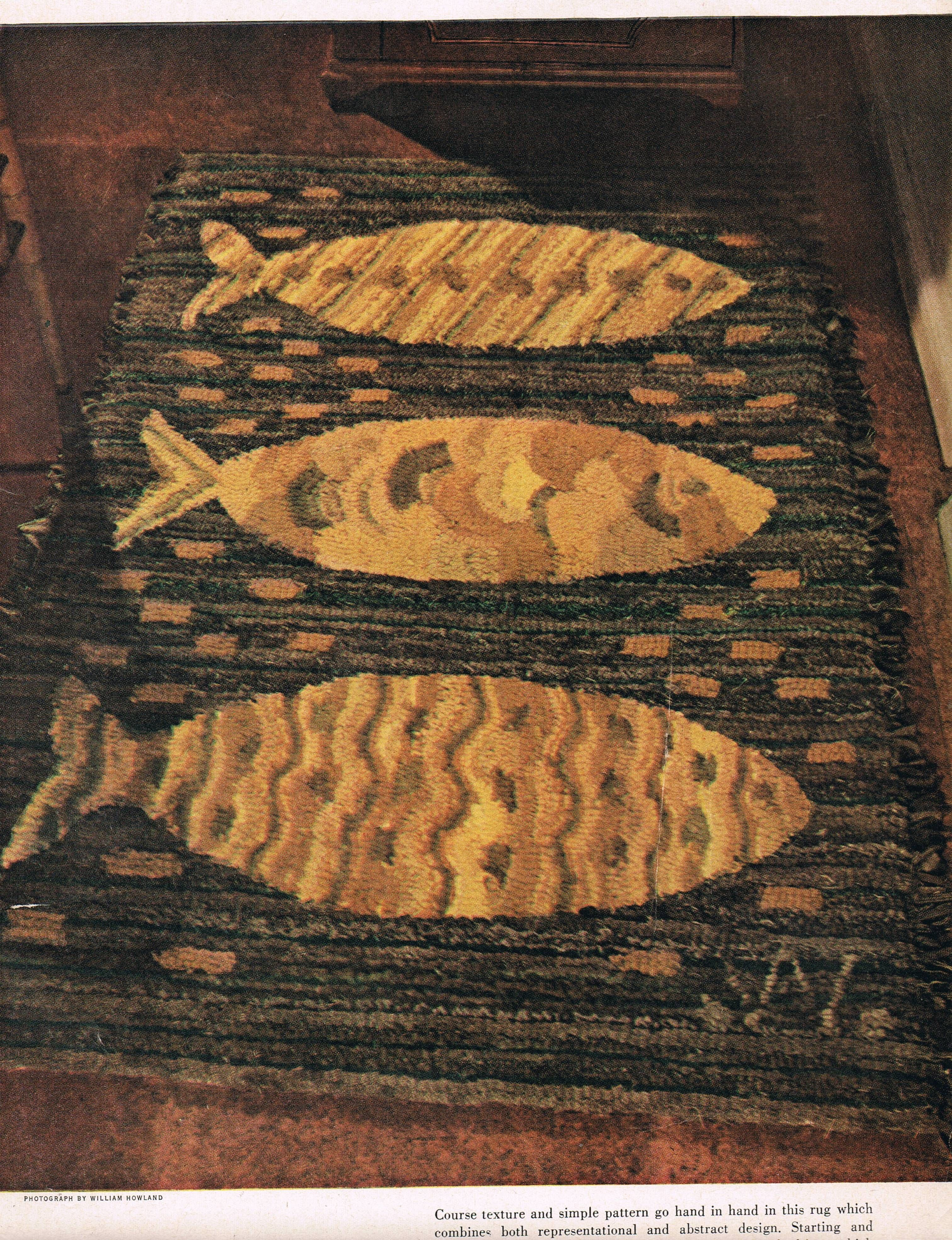 Stylized Fish Rug Designed In The Mid 1950s Rug Hooking Rug Hooking Patterns Fish Rug