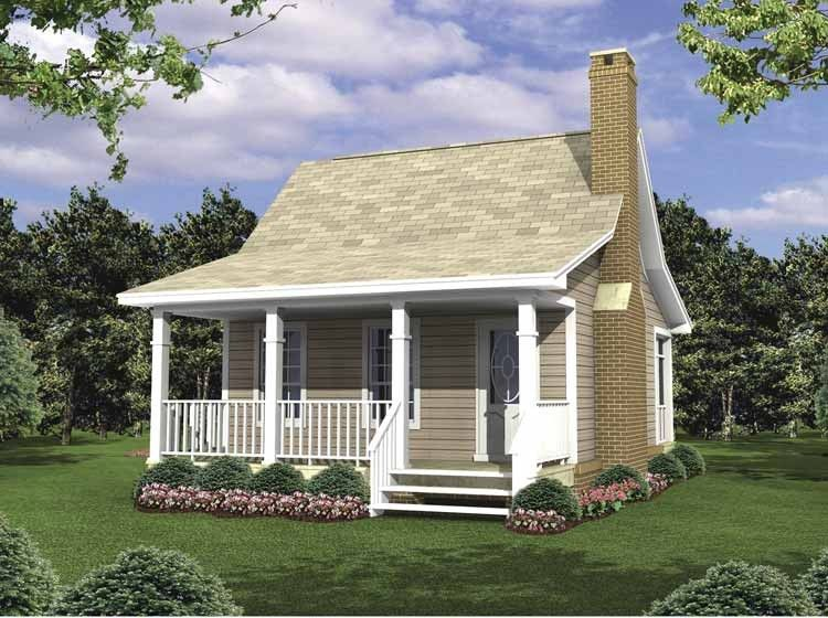Dutch House Plan with 400 Square Feet and 1 Bedroom from Dream Home Source  | House Plan Code DHSW62453 - move room and bath up to provide a public  entrance ...