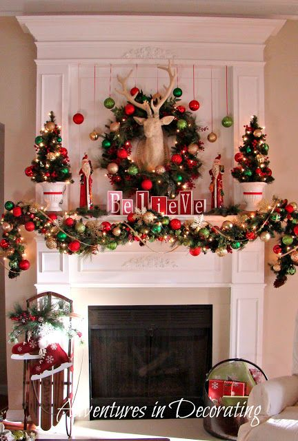 Adventures in Decorating\u0027s Beautiful Mantel! Christmas Decorating