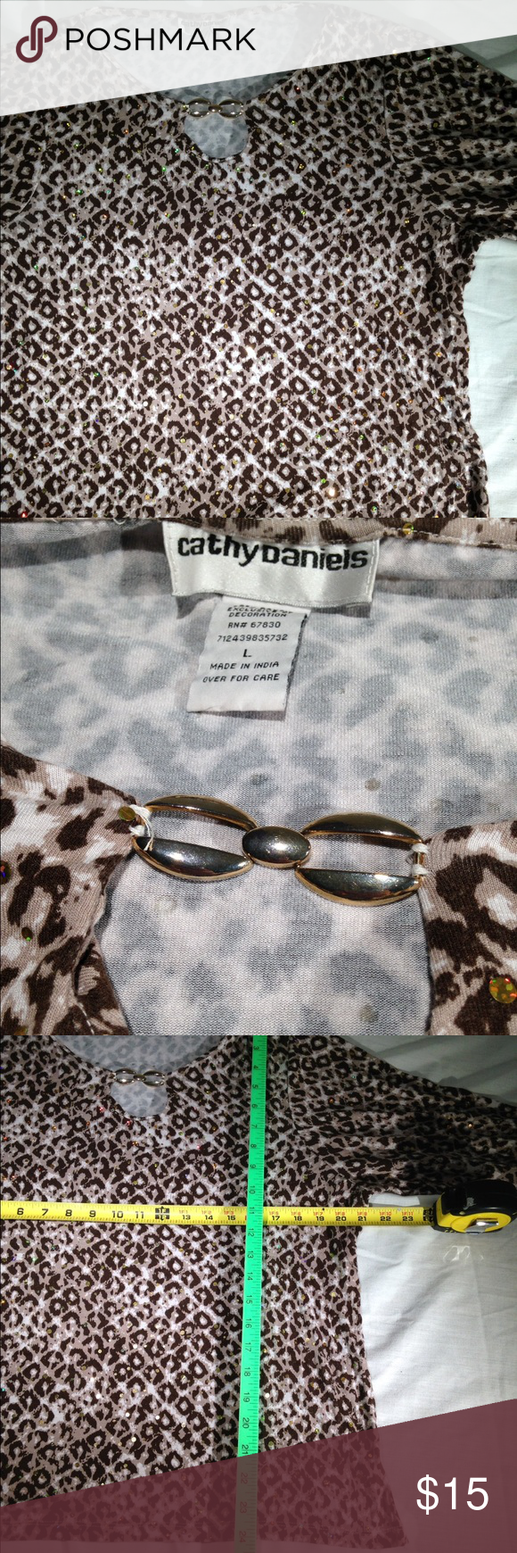 Leopard print Cathy Daniels with crystals Sorry my photos do no justice to the lovely embellishments frond and back. This is a shirt that will not wrinkle. Very comfortable and pretty. cathy daniels  Tops Blouses
