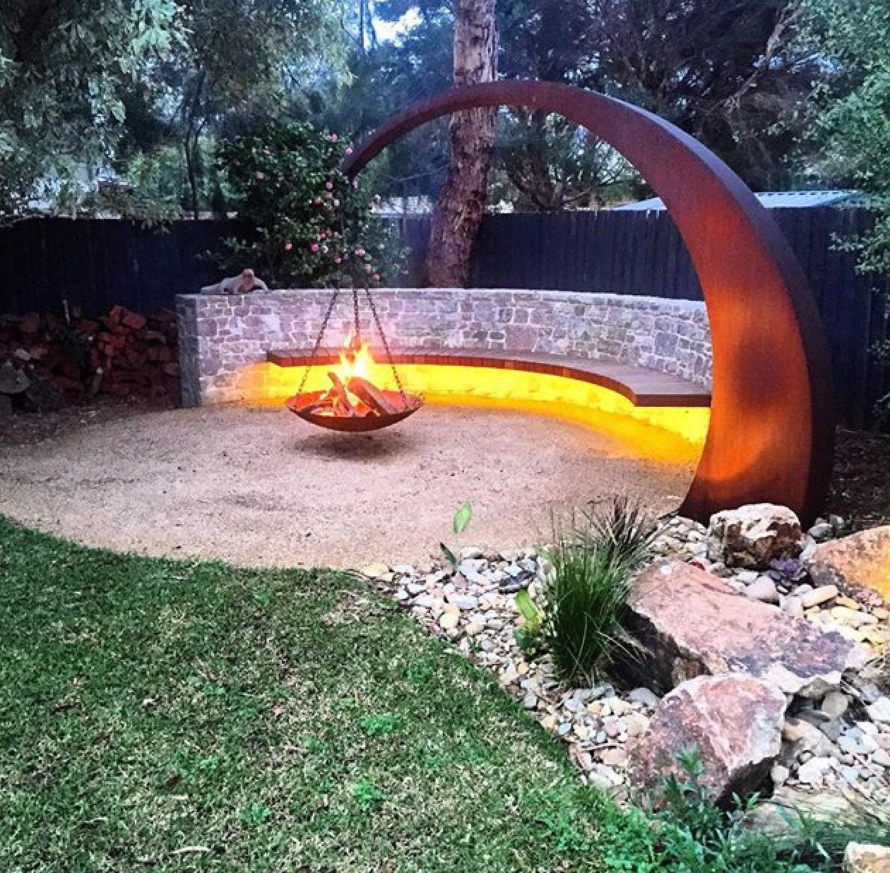 Suspended Fire Peters Folly In 2019 Fire Pit Backyard