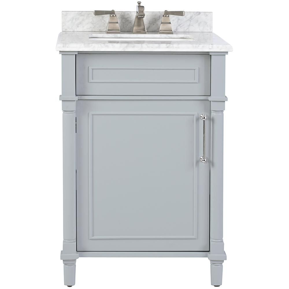 Home Decorators Collection Aberdeen 24 In W X 20 In D Bath Vanity In Dove Grey With Carrara Marble Top With White Sink 8103200270 The Home Depot In 2020 Small Bathroom