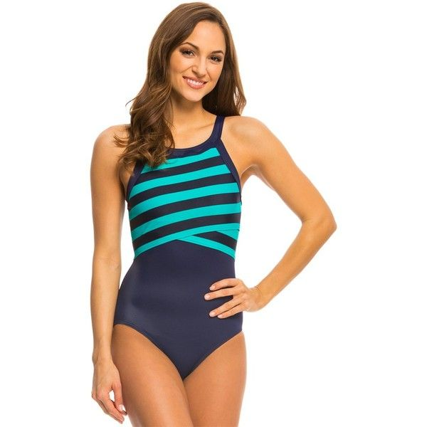 6d52b297bb3 DKNY Iconic Stripes High Neck One Piece Swimsuit ($114) ❤ liked on Polyvore  featuring swimwear, one-piece swimsuits, currant, swim crop top, one piece  ...