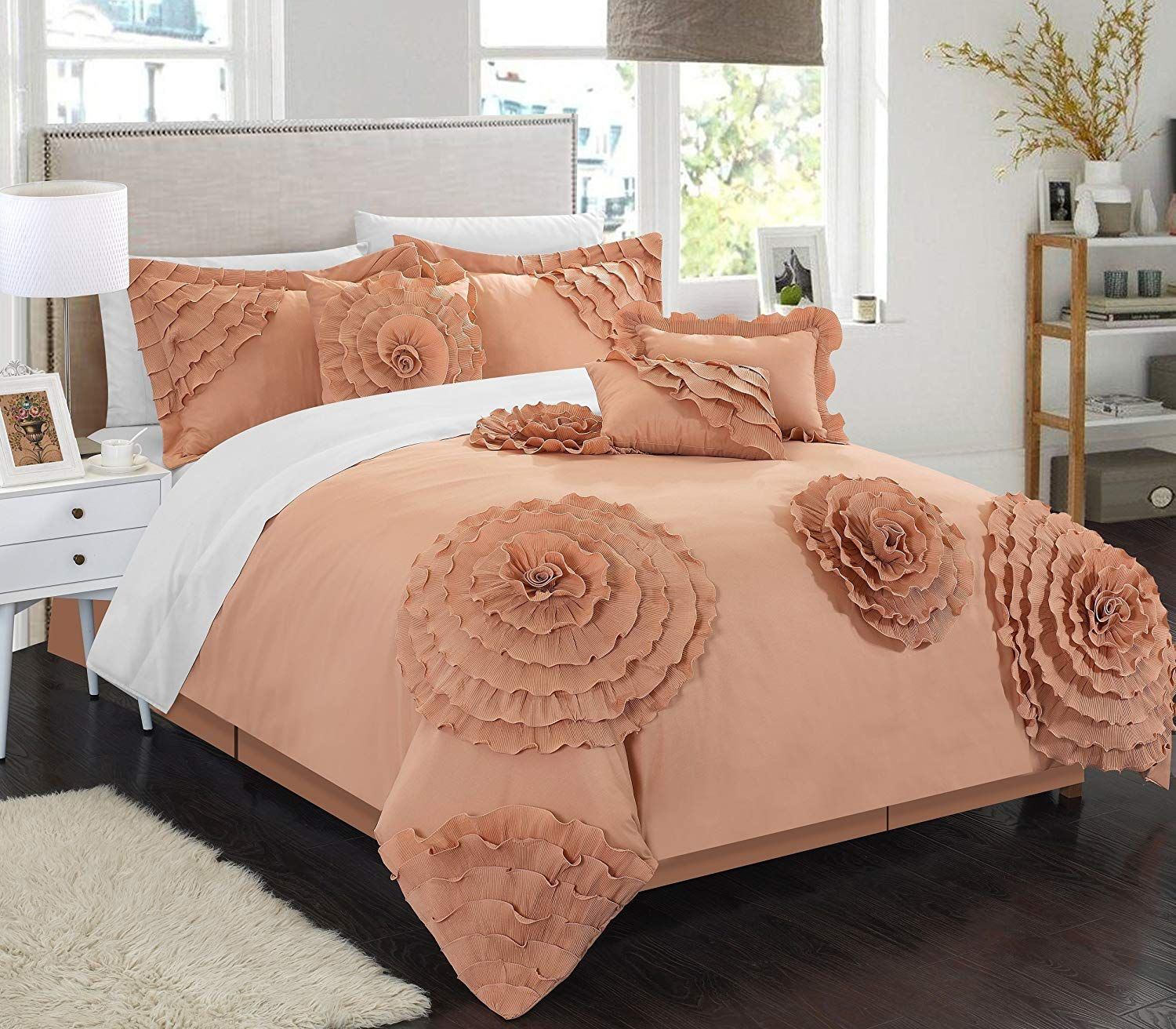 Chic home piece belinda oversize filled floral and rose pleated