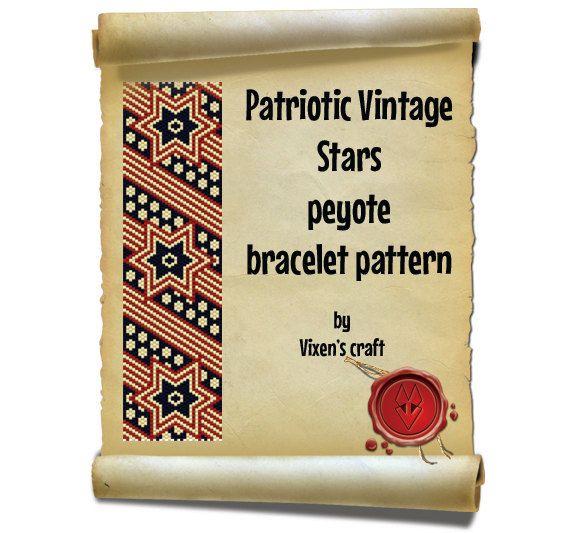 A personal favorite from my Etsy shop https://www.etsy.com/listing/228302284/patriotic-vintage-stars-peyote-bracelet