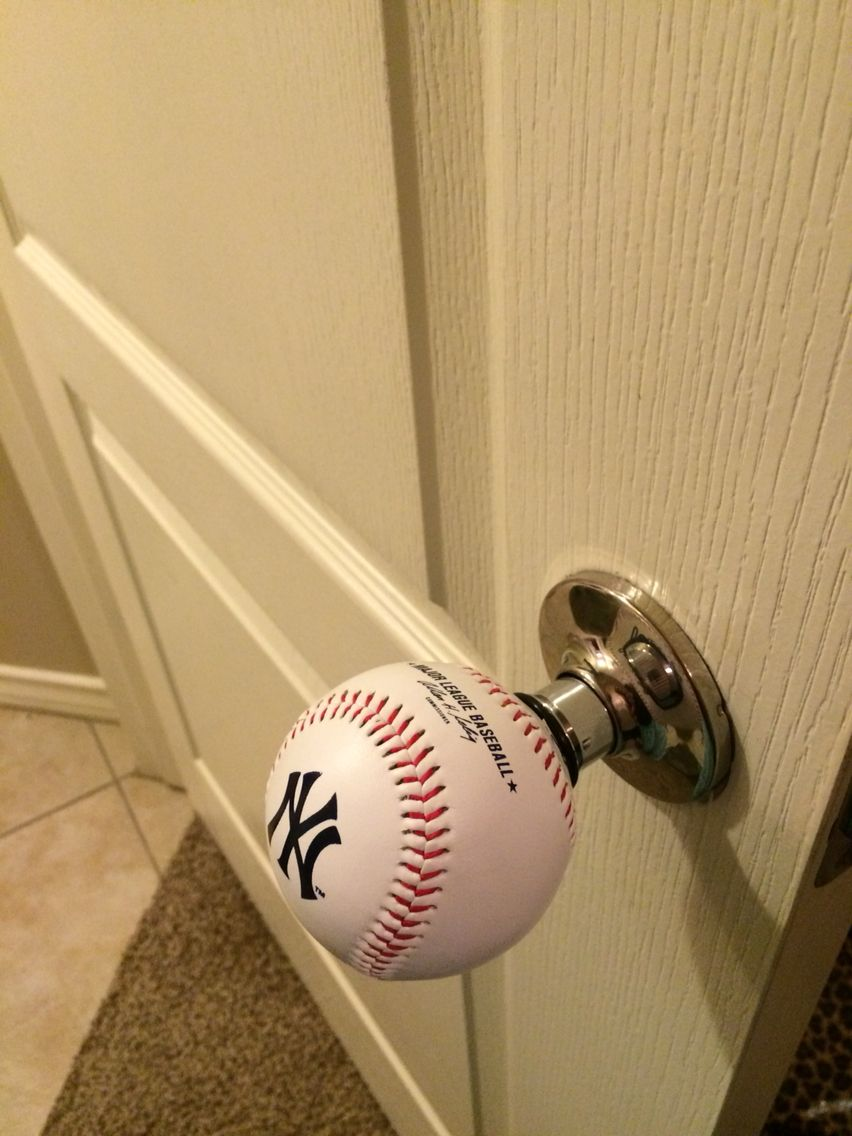 Yankee/baseball doorknob. Perfect for a baseball family or a son\'s ...