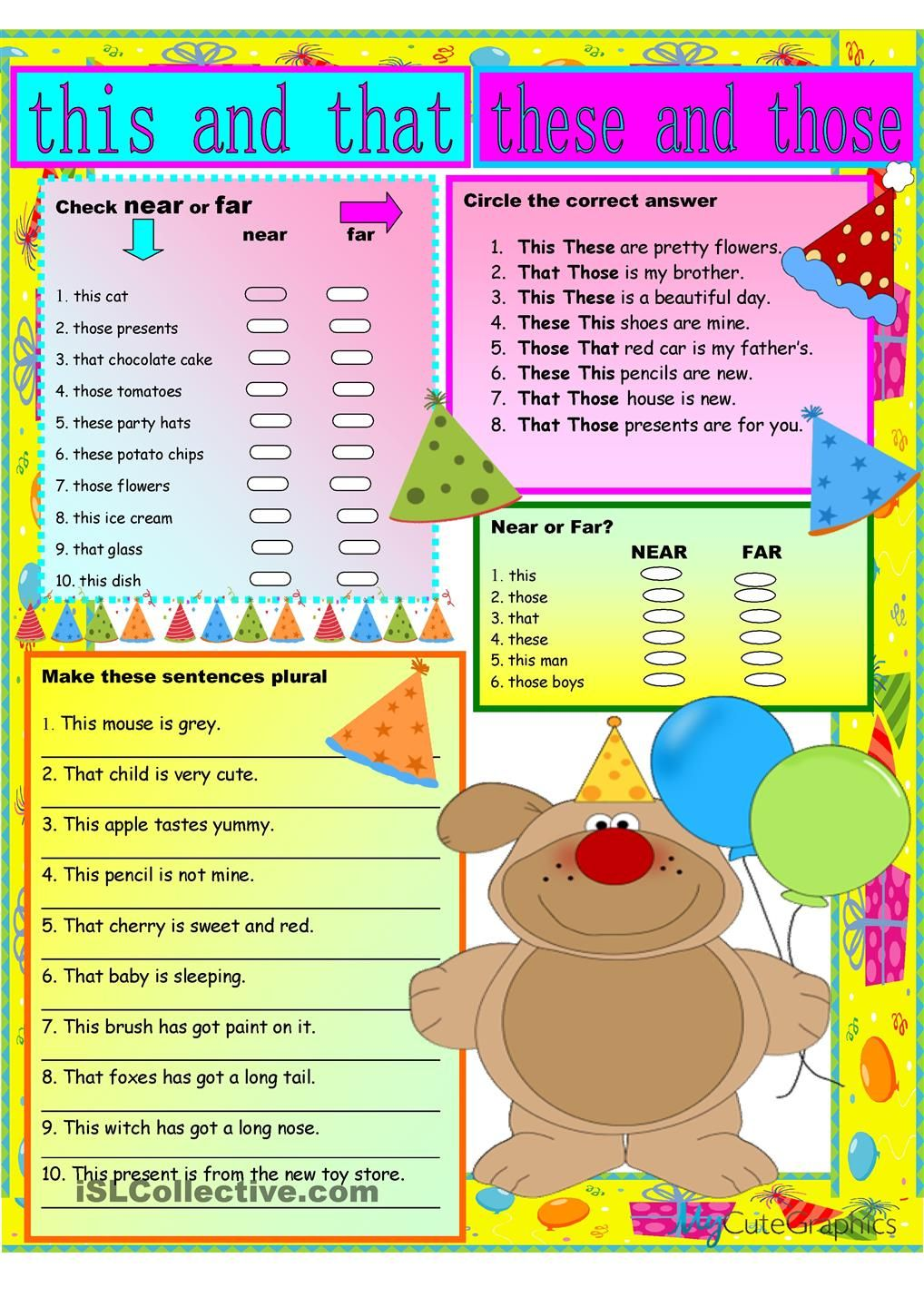 hight resolution of Demonstratives   English teaching resources