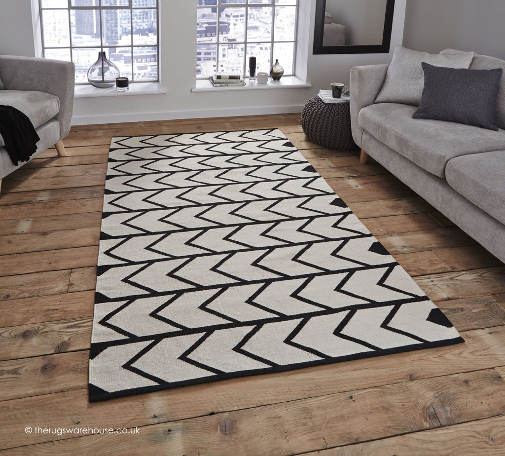 Manhattan Stripes Rug 100 Cotton Black Cream Monochrome Handmade Http