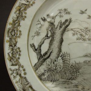 Chinese Export Porcelain  An 18th Century Chinese Export Porcelain Plate, Qianlong Period c.1750. Finely Painted in En Grisaille with `Le Pêcheur` After A.Bloemaert.