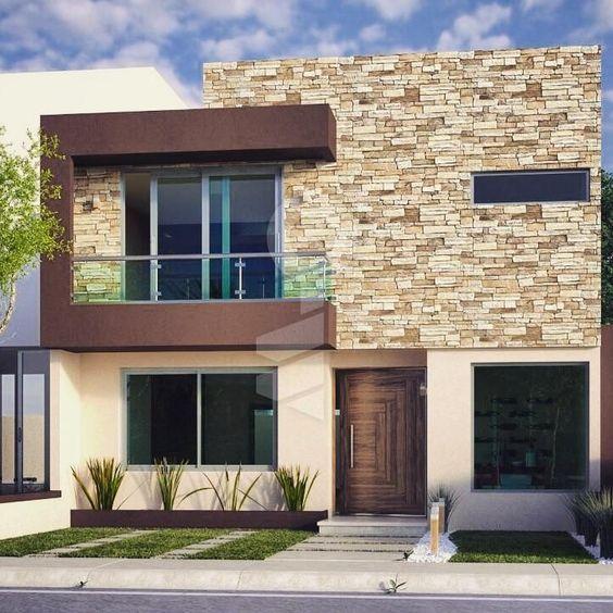 Fachadas con piedra laja decoracion de fachadas con for Fachadas de casas modernas con piedra