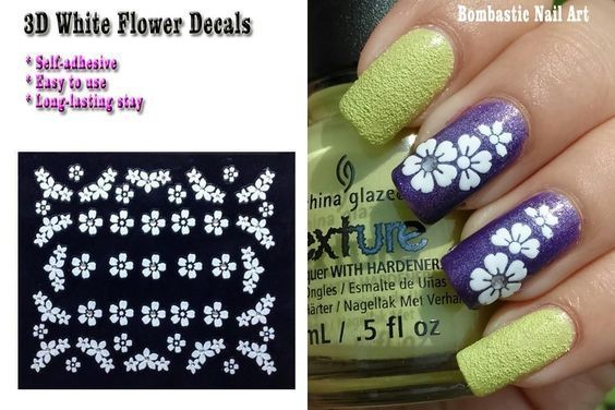 3d Decals Sticker White Butterfly Flower Self Adhesive For Nail Art