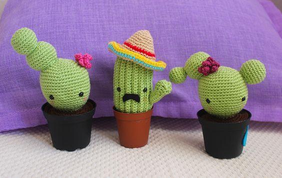 Amigurumi Cactus Tejido A Crochet Regalo Original : Cactus amigurumi patrón gratis en español muñecos tejidos o a