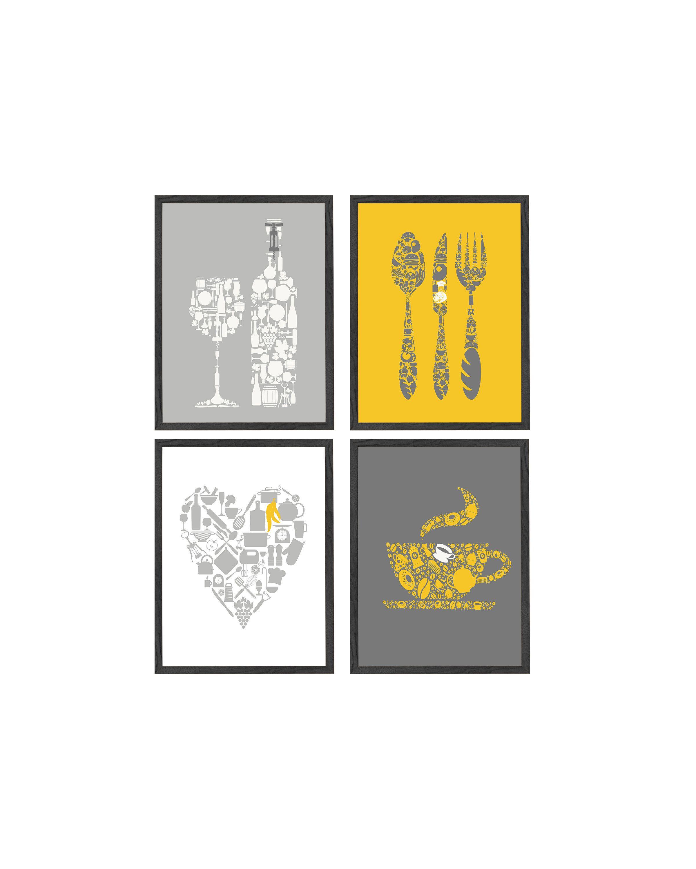 Best Yellow Kitchen Wall Decor Yellow Gray Kitchen Wall Art 400 x 300