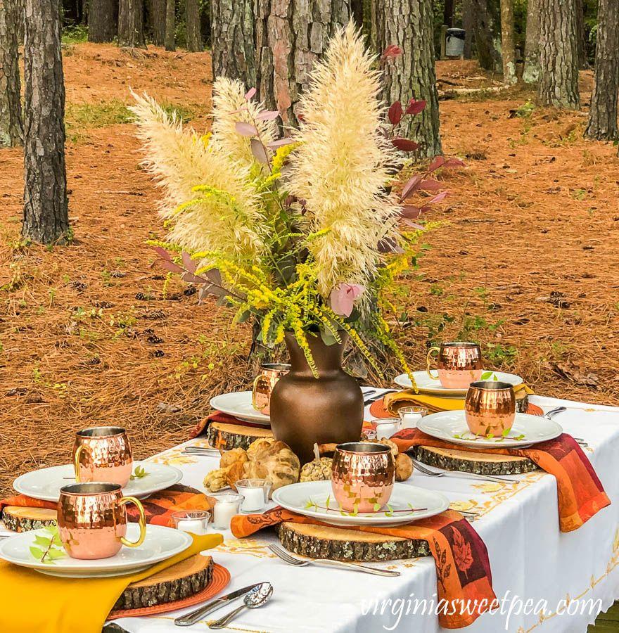 Lakeside woodland fall tablescape sweet pea fall