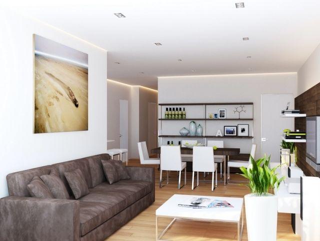 Ideen Wohnzimmer Essbereich Braun Weiß Kombination Modern