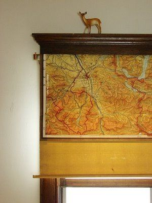 Vintage Pull Down Map As Roller Shade Map It Out Room Curtains Window Treatments