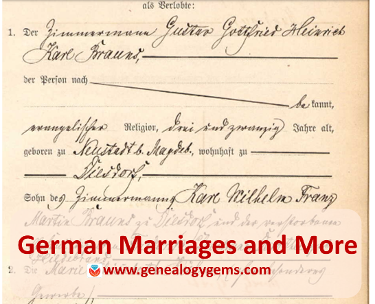 German Marriages And More In New And Updated Genealogy Records Online Https Lisalouisecooke Com 2017 04 Germ Genealogy Records Genealogy Book Genealogy Gems
