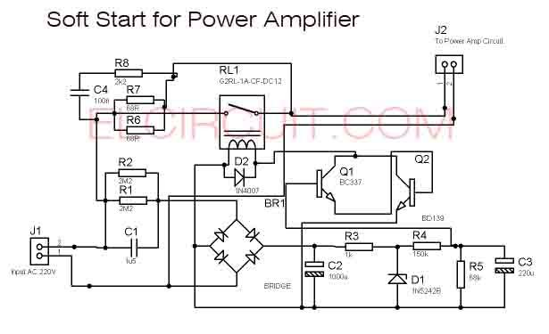 soft start power amplifier circuit schematic diagram