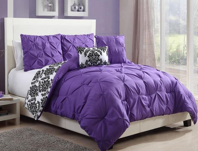 Teen girls black white purple reversible pintuck damask comforter set twin purple comforter - Dark purple bedroom for girls ...