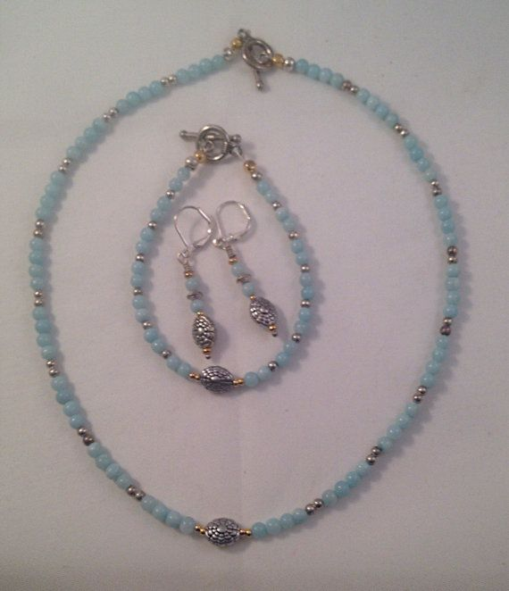 Beaded Gemstone Amazonite Set of Necklace, Bracelet and Earrings with Silver and gold accents