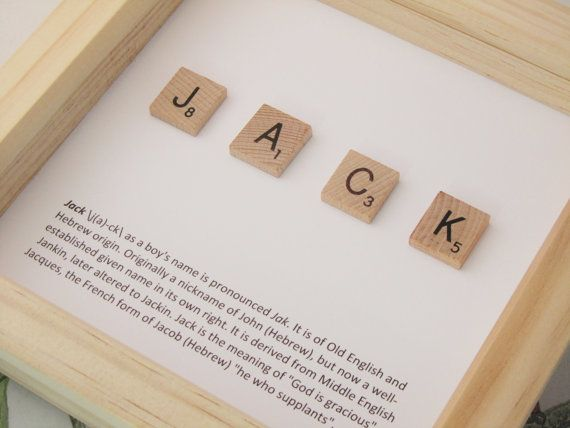 Baby gift, new baby gift, personalised Scrabble name and meaning ...