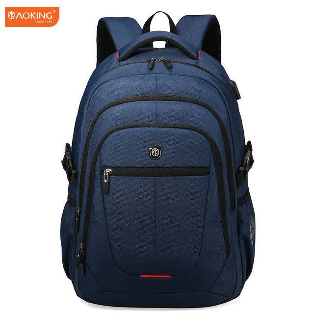 a7e9706b9f0d Aoking External USB Charge Computer Bag Polyester Notebook Backpack Men  Women Waterproof Laptop Backpack College Students Bag