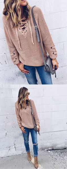 lace up sweater feature by cellajaneblog http://www.chicwish.com ...