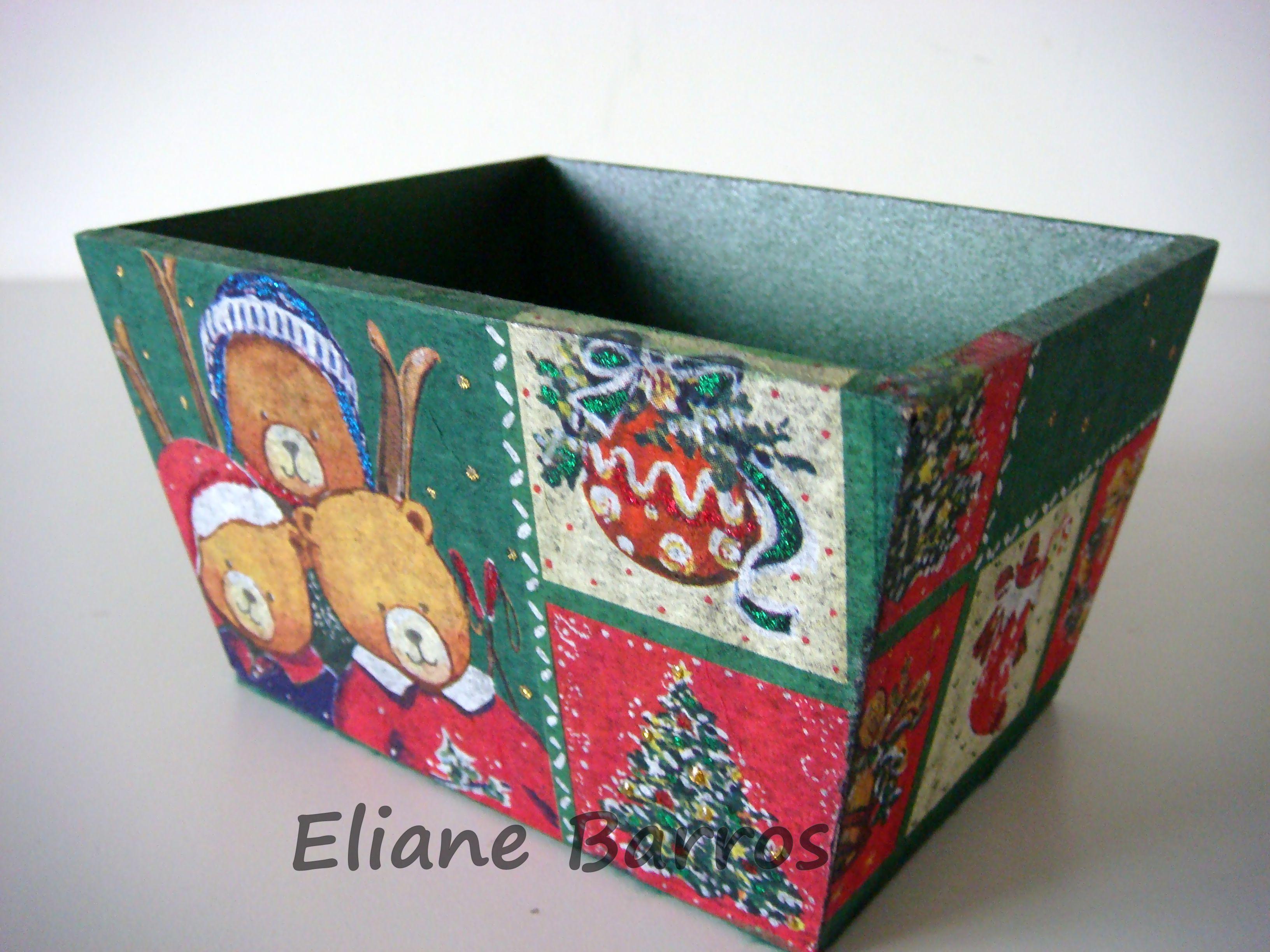 cachepô de madeira com decoupage, feito por Eliane Barros