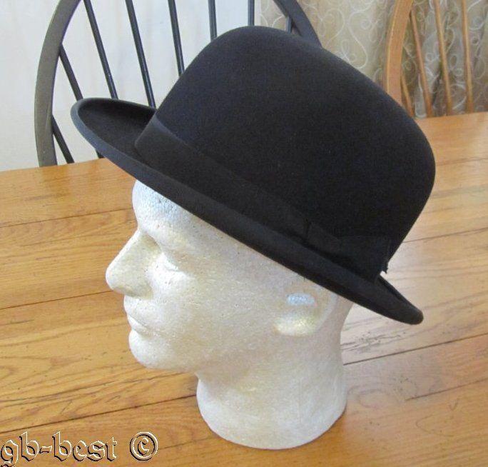 c537d6580357f Vintage Men s Black Bowler HAT Dobbs New York 7 1 4 Fifteen DERBY  Dobbs   Bowler