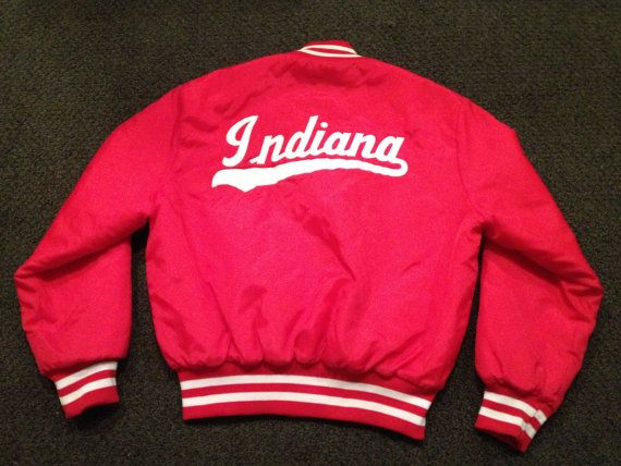 cf782392cd Vintage Mens IU Indiana Hoosiers Basketball Satin Red Button Up Varsity  JAcket Size XL  59.99