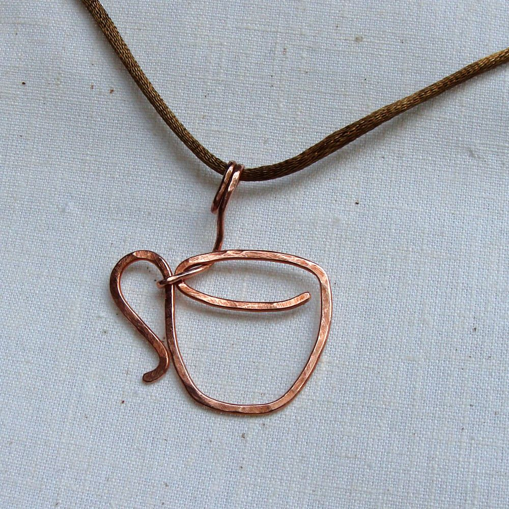 Sparkflightstudio Hammered Copper Coffee Cup Pendant This would be ...