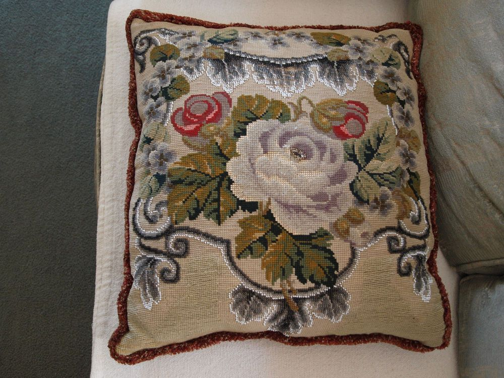 Floral Victorian Cushion with Bead-work (Not common – few on ebay)
