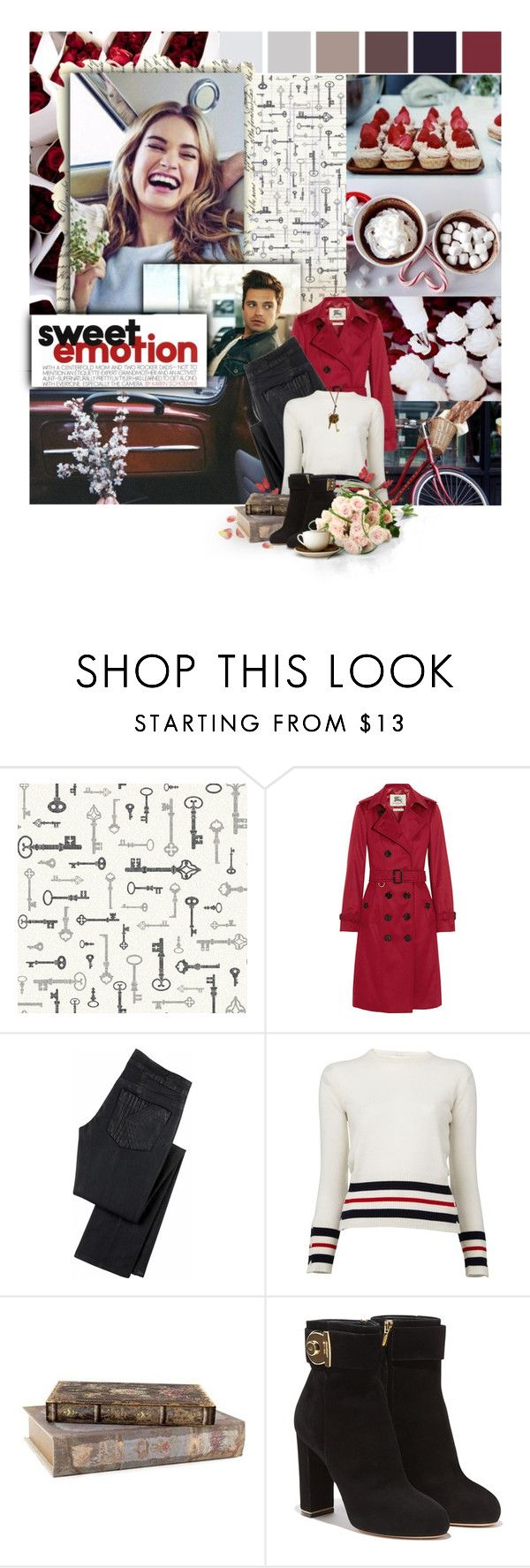 """Grow old with me, let us share what we see and, oh, the best it could be, just you and I"" by dashingpirate ❤ liked on Polyvore featuring York Wallcoverings, Dollhouse, Les Petites Choses, Sebastian Professional, Burberry, K Karl Lagerfeld, Thom Browne, Salvatore Ferragamo, Nexus and women's clothing"