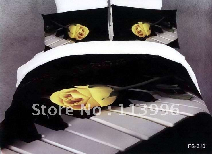 Blue Rose Bed Cover Yellow Rose Piano 100 Cotton Bedding Sets